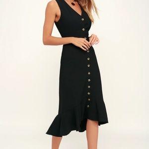 NWOT Gilli Sleeveless Midi Black Dress w/Buttons
